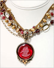 Red intaglio pendant perl necklace