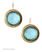 New! Mykonos Round Aqua Intaglio Earrings, price: $155.00. Click on 'Large View' for large picture