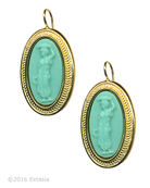 From our Mykonos Collection for Spring/Summer. In 14K Gold Plate, our opaque Mint German glass cameo earring. Measures 1 1/8 by 5/8 inch. French Hook. Beautiful for this new Spring season. Each earring made to order in the USA from the world's finest materials.