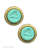 Mykonos Round Mint Intaglio Clip Earrings, price: $145.00. Click on 'Large View' for large picture
