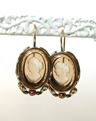 18/13 mm Smokey topaz intaglios hand made from gold-filled French hooks in Arts and Crafts setting with faux pearl accent
