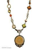 Arts & Crafts Butterscotch Intalgio  Necklace, price: $350.00. Click on 'Large View' for large picture