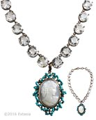 New! Hand carved Italian Shell Cameo surrounded by genuine turquoise beads. Vintage Rock Crystal necklace is 15 inches adjustable to 17 inches. Stunning! Medium pendant is 1 3/4 inches by 1 1/4 inches. Bronze metal. Each Rock Crystal is set in Bronze, and measures almost 1/2 inch in diameter. Each necklace made to order in the USA from the worlds finest materials.