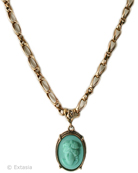 Our opaque Mint German glass cameo in a necklace from the classic Victoriana Collection. This is one of our most popular simple necklaces, easy to wear, and in a very fun mint green color. Great for Spring, Summer for that pop of color!. Pendant is 1 by 3/4 inches (25/18mm). 23 inch necklace length. (Available in other colors by request.) Bronze. Each necklace made to order in the U.S.A.