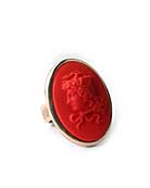 New color for our largest cameo ring. Lipstick red German glass cameo in our large 1 1/4 by 1 inch ring setting. Simple and elegant ring, image from Greek mythology of Medusa. For a pop of color this Season! Bronze.