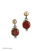 From our Chloe Collection, a great deep red post earring.  Opaque wine German glass intaglio in a pretty setting. Drop is 1/2 inch diameter. Bronze, faux pearl top.