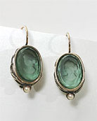 Tourmaline German glass intaglio earring is 1/2 inch tall (14/10mm). The oval earring is simply set with delicate floral etching and faux pearl accent and hangs from gold filled French hook. Shown in Bronze.