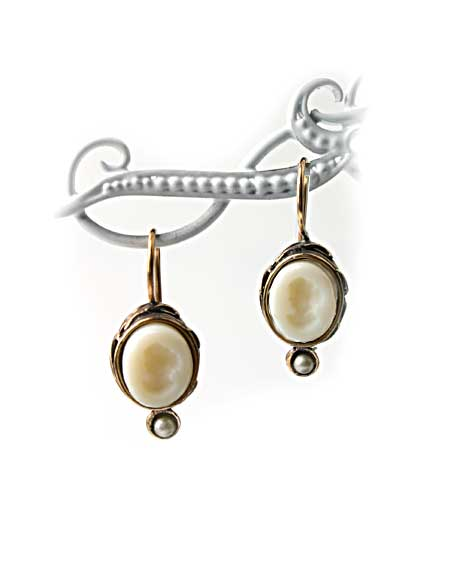 Ivory German glass intaglio in our smallest earring, from the Chloe Collection. Pretty and feminine. 3/8 inch tall (10mm). French hook, Shown in bronze.