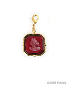 From the Charm du Jour Collection, an octagonal shaped charm in our popular transparent ruby German glass intaglio. Charm measures 3/4 inch in width, and comes with a lobster closure to attach to your own chain, or ours, available from this website. Shown in Gold Plate.