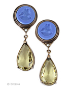 New coloration from our Daughters of Dust Spring Collection, very pretty long clip earring. Shown in our Opaque French Blue German glass intaglio with a transparent Jonquil drop. Perfect for early Spring/Summer. The large clip earring measures 2 1/2 inches long by 7/8 inch wide. Bronze. Each earring made in the USA. rn