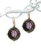 Jewel-tone amethyst German glass intaglio earring from our Daughters of Dust collection. Classic look, 1/2 inch diameter French hook. Shown in Bronze.