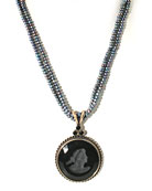 Jet Intaglio & Pearl Necklace, price: $238.00. Click on 'Large View' for large picture