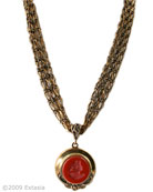 New from our Locket Collection, very pretty 1 inch diameter locket on four strands of delicate bronze chain. Locket opens to hold two pictures. A deep red 3/4 inch diameter German glass intaglio decorates the front of each locket. Our vibrant red intaglio, which we call Wine, is opaque. Shown in our signature Bronze metal. Necklace length 17 inches, with adjustor to lengthen up to 21 inches. Hand made to order in the USA.