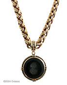 New color for our bestselling statement necklace. Opaque Jet German glass intaglio in our large 1 1/2 inch diameter pendant. The substantial chain necklace is 18 inches in length. Classic black, a goes with everything piece. Shown in our signature bronze. Also available in Silver Plate.
