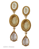 Beautiful and fashionably long, hand pressed German glass intaglio clip earrings in opaque Ivory, Jonquil and Frosted Clear. Classic long earrings measure 2 3/4 inches in length. Shown in 14K Gold plate over Bronze. These are clip earrings. Each earring made to order in the U.S.A. rn
