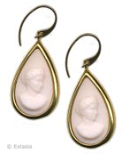 Shown in 14k Gold Plate. Angelskin cameo from Hiram Powers beautiful sculpture, America, c. 1850. Classic pear shape is 1 inch by 3/4 inch, and hangs from a French Wire. Shown in opaque Angelskin German glass.  Shown in Gold Plate over Bronze, each earring made to order in the USA from the worlds finest materials.