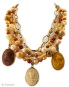 Minerva 3 Charm Statement Necklace, price: $466.00. Click on 'Large View' for large picture