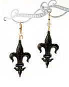 In the Victorian tradition, our hand-carved Fleur de Lis earring in genuine Jet. Fossilized driftwood was used in Victoria\'s time to create these jet styles, called Mourning Jewelry. Extasia now carries on the tradition. Fleur de Lis measures 1 1/4 inch tall. Gold fill earwire.  (These hand-carved items may take slightly longer delivery time, in rare cases up to 4 weeks.)