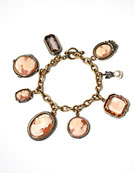 A lighter version of our cameo Charm Bracelet, from the Portia collection.  Hand carved Italian shell cameos and German glass intaglios.  Bronze.