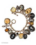 Jet and Butterscotch Intaglio Bracelet, price: $975.00. Click on 'Large View' for large picture