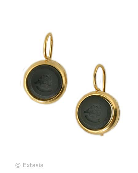 Shown in Gold Plate, our small Marlene round earring in opaque Jet German glass intaglio. Classic, simple, perfect for daytime, with a white blouse, or eveningwear! A must have in classic black, and it looks so dressed up in Gold Plate. Small earring measures just 1/2 inch in diameter. French hook. 14K Gold plate over bronze. Each earring made in the USA.