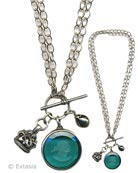 Zircon Convertible Intaglio Necklace, Silver Plate, price: $265.00. Click on 'Large View' for large picture