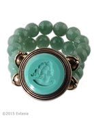 From our new Scala Collection, beaded bracelet with opaque Mint German glass intaglio. Center piece is 1 1/2 inches in diameter. Stretchable beading is of lovely faceted Green Aventurine. Shown in our signature Bronze metal. Each bracelet made to order in the USA from the worlds finest materials.