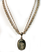 Slate Multi-strand Intaglio Necklace, price: $198.00. Click on 'Large View' for large picture